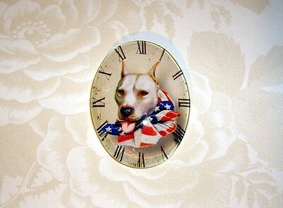 Patriotic Dog Glitter Unset Handmade Art Bubble Cameo Cabochon 30X40mm