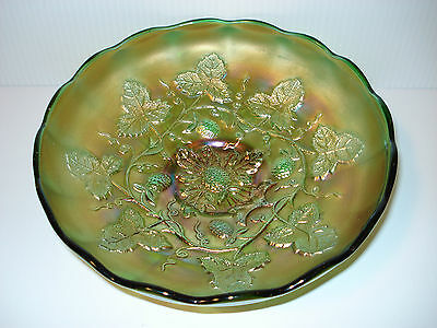 "MILLERSBURG Carnival Glass BLACKBERRY WREATH Pattern GREEN 8"" Bowl EXCELLENT"