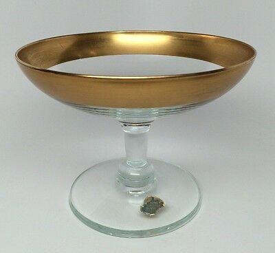 Vintage West Virginia Glass Compote / Candy - Wide Gold Band Mid Century Modern