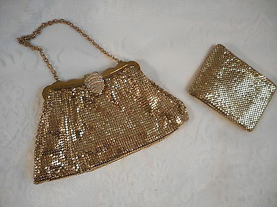 WHITING & DAVIS CO. vintage gold tone mesh purse  with  small  wallet