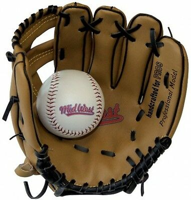 Midwest Kids Glove and Ball Set - Brown/Black, 9 inch Baseball Sports Gift