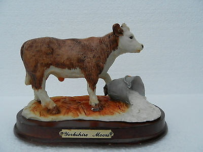 Yorkshire Moors ~ Cow and bucket figurine ~ Wooden Plinth