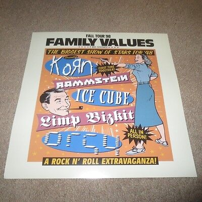 1998 Family Values Korn Rammstein Ice Cube Promo Promotional Music Flat Poster