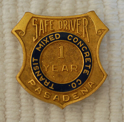 """Transit Mixed Concrete Co. 1 year Safe Driver Badge 1.25"""" Long; Nice"""