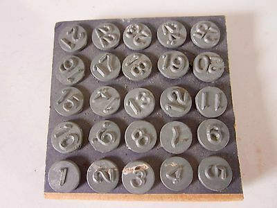 Vintage white brass 1 - 25 Acro numbering tacks for windows , drawers, bins etc