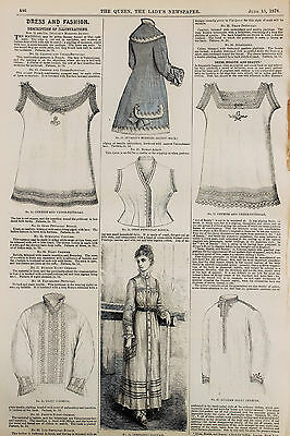 Antique Victorian Fashion: Costume Style Clothes 1878 Queen Magazine, Dresses