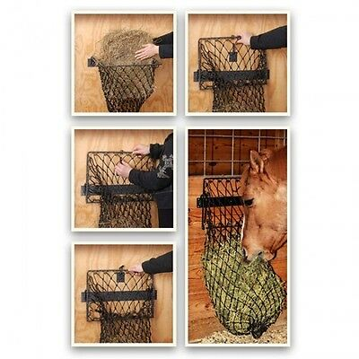 Tough-1 Hay Hoops Collapsible Wall Feeder/ With Net - Black Finish