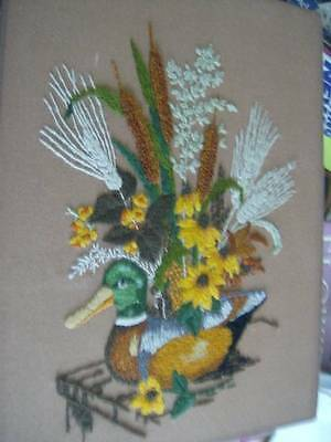 Finished Crewel Embroidery Picture Wooden Decoy With Flowers 9x13.5 Inches- By C