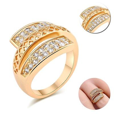 Noble Fashion Yellow Gold Filled Square Zircon Band Ring Jewelry Size 5.25-9