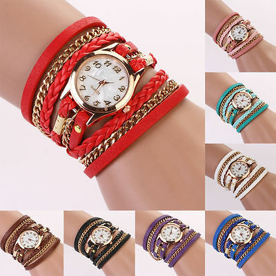 New Women Lady Vintage Weave Wrap Rivet Handy Faux Wrist Leather Band Watch