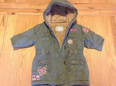 Baby Girls Next Jacket / Coat Khaki Green Colour Fleece Lined Age 3-6 Months