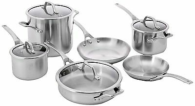 NEW Calphalon 10-Piece AccuCore Stainless Steel w. Copper Core Cookware Set
