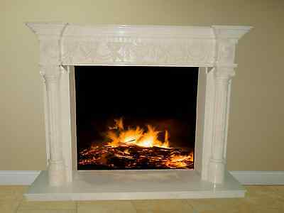 White Marble Fireplace Surround Mantel Living Family Great Room FPS-16 67x51x17
