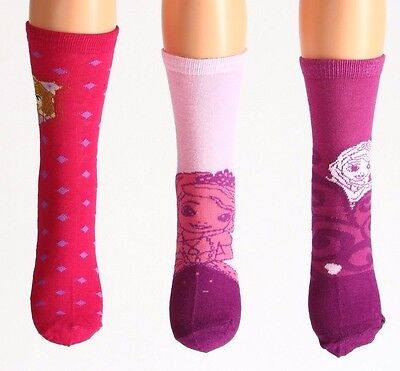 3 Pack Girls Socks Age 2-3 Years New Sofia The First Disney Uk 6 - 8.5 Eur 23-26