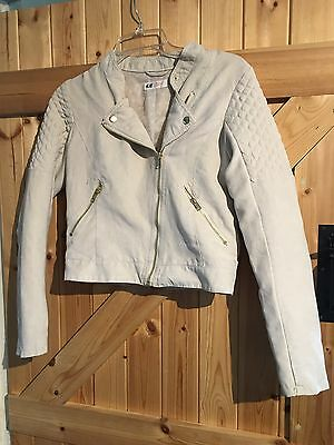 Lovely Beige Biker Chick Jacket / Coat By H&M Age 14 Years Chest 30""