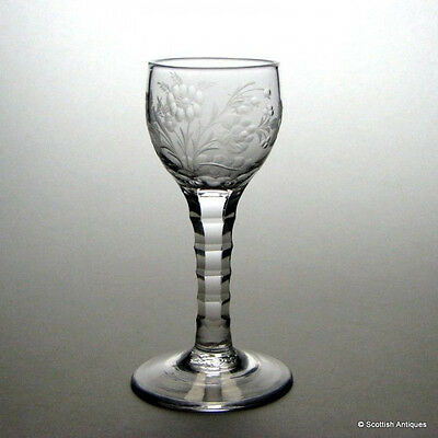 Disguised Jacobite Sympathy Facet Cut Wine Glass c1765