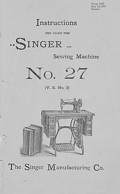 Manual for Singer Sewing Machine No. 27