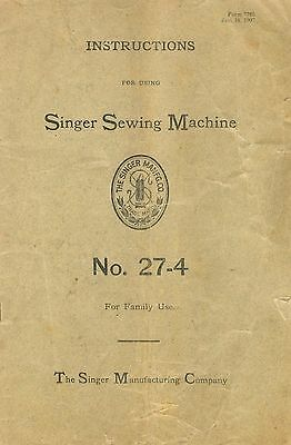 Manual for Singer Sewing Machine No. 27-4
