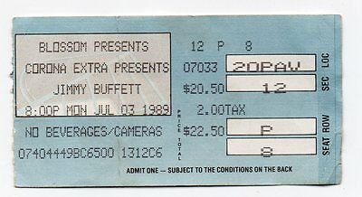 "JIMMY BUFFETT  ""July 3, 1989 Ticket Stub From Blossom Music Center, Ohio!"