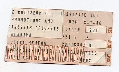 "ALABAMA  ""October 26, 1984 Ticket Stub From THE COLISEUM, Richfield Ohio!"