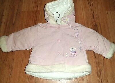 Baby Girls 6-12 Months Pink Cord Jacket Fur Trim And Hood New Dizzy Daisy Cosy