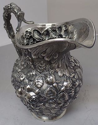 Sterling Rose Repousse Watcher Pitcher | Circa 1900 | Beautiful Design 848 grams