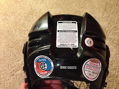 Bauer BHH1500XS Ice Roller Hockey Helmet Black with cage