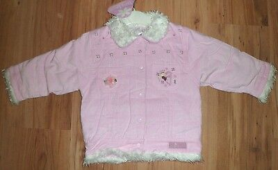 Baby Girls 6-12 Months Pink Cord Jacket Fur Trim Collar New Dizzy Daisy Cosy