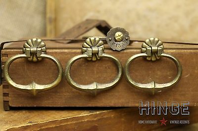 """4 Vintage Antique Brass Drop Ring with back plate 2 1/2"""" x 2"""" item280"""