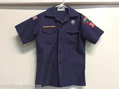 Boy Scout Cub Scout Uniform Short Sleeve Blue Shirt Size Youth Med 314 USED