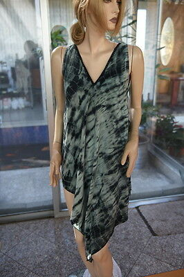 LIM'S 100% SILK HAND TIE-DYE ASYMMETRY Dress ONE SIZE GREEN BASE