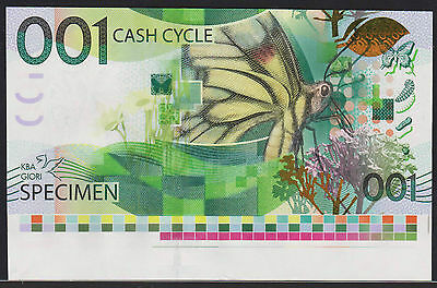 "Test Note KBA GIORI Switzerland - ""Cash Cycle 001"" - with lower border piece"
