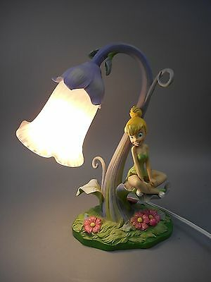 Rare Disney Direct Tinker Bell Lamp with Art Glass Shade