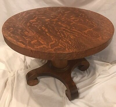 ANTIQUE Victorian Tiger Oak Round Side End Accent Occasional Tea Table