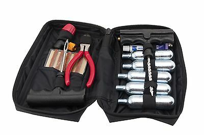 Large CO2 Motorcycle Tire and Tubeless Flat Repair Kit  w 5 canisters Standard