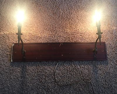 Brass Sconces On Wood Vintage Wired Pair