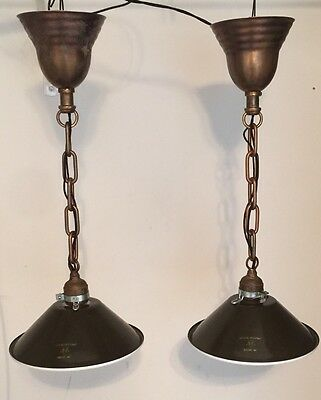 """19""""  Long Industrial Pendant Light Pair With 8"""" Wide Military Green Shades!"""