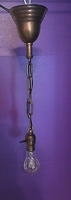 Vintage Brass Pendant Light With Turnkey Socket Wired!