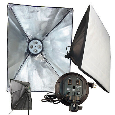 2PCS Photo Studio 50 x 70cm E27 4in1 4x head Socket Lighting Lamp Softbox 220V