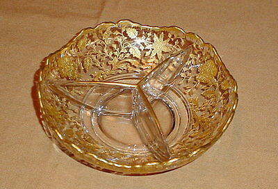 Cambridge Wildflower Crystal Gold Encrusted Three Part Divided Relish Dish