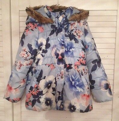 Girls Winter Floral Coat Age 6