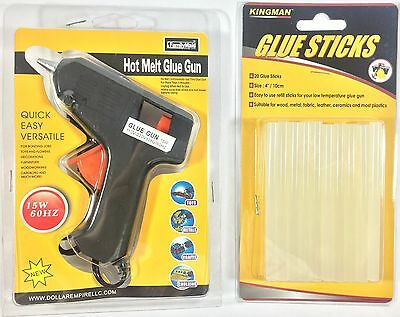 Hot Melt Glue Gun with 20 Clear Glue Sticks for Arts Craft 15W new Black