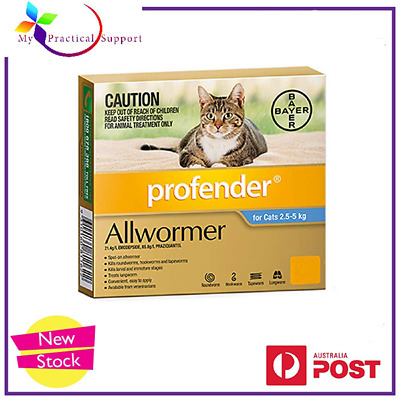 Profender for Cats Allwormer Blue 2.5 to 5kg 2 Tubes worker NEW STOCK