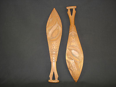 Two highly well-carved Northwest Coast paddles, Native American Indian, c.1815