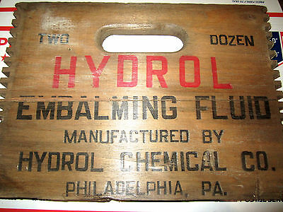 Antique/vintage Hydrol Embalming Fluid Packing Crate End Hudrol Chenical Co. Phi