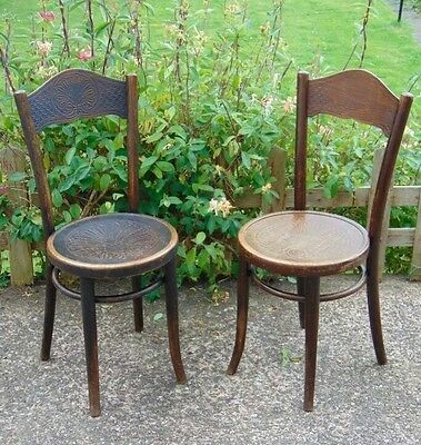 Pair of Antique Mundus Bistro Chairs Patterned Seats and Backs