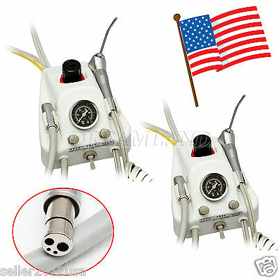 USA! 2 Set Dental Portable Air Turbine Unit Work w/ Compressor Handpiece 4Hole