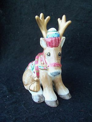 Reindeer Ceramic Figurine!  WHIMSICAL! CAP! PAINTED SADDLE! FITZ & FLOYD?  SMALL