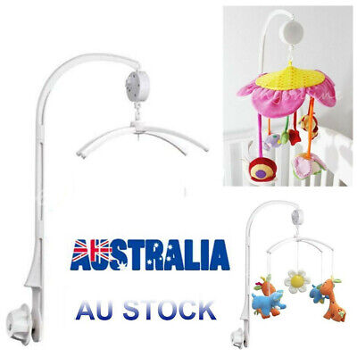 White Baby Crib Mobile Bed Bell DIY Toy Holder Arm Bracket + Wind-up Music Box