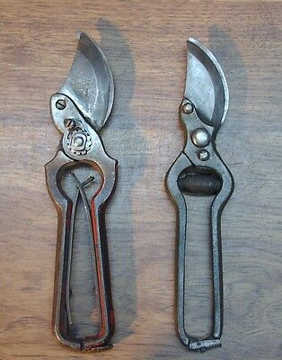 """2 Vintage Bypass Pruners,Pexto 9-3/16"""" U.S.A.,& Unsigned 8-7/8"""",Good Condition"""
